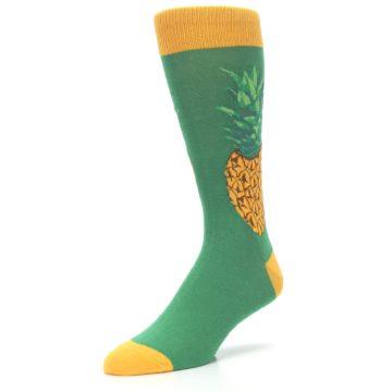 Image of Green Yellow Pineapple Men's Dress Socks (side-2-front-08)