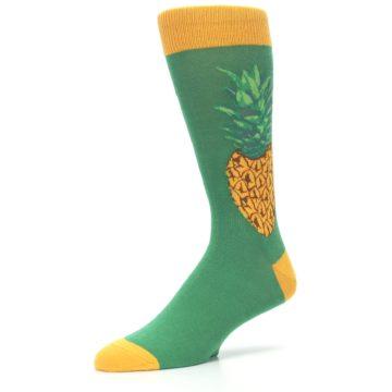 Image of Green Yellow Pineapple Men's Dress Socks (side-2-09)