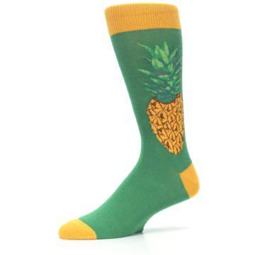 Image of Green Yellow Pineapple Men's Dress Socks (side-2-10)
