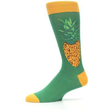 Image of Green Yellow Pineapple Men's Dress Socks (side-2-11)