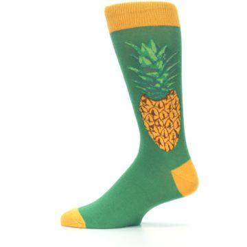 Image of Green Yellow Pineapple Men's Dress Socks (side-2-12)