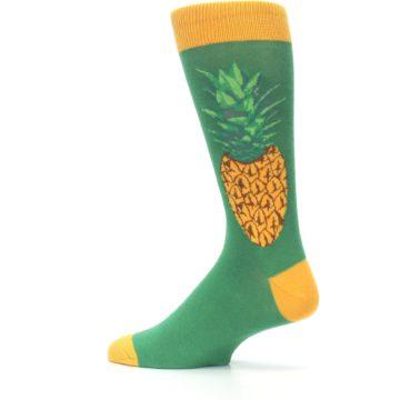 Image of Green Yellow Pineapple Men's Dress Socks (side-2-13)