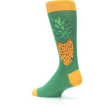 Image of Green Yellow Pineapple Men's Dress Socks (side-2-back-14)