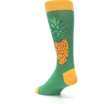 Image of Green Yellow Pineapple Men's Dress Socks (side-2-back-15)