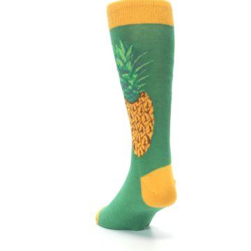 Image of Green Yellow Pineapple Men's Dress Socks (side-2-back-16)