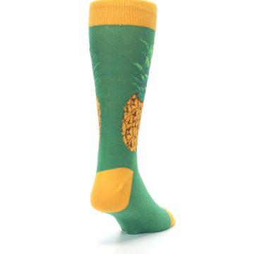 Image of Green Yellow Pineapple Men's Dress Socks (side-1-back-20)