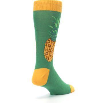 Image of Green Yellow Pineapple Men's Dress Socks (side-1-back-21)