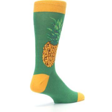 Image of Green Yellow Pineapple Men's Dress Socks (side-1-back-22)
