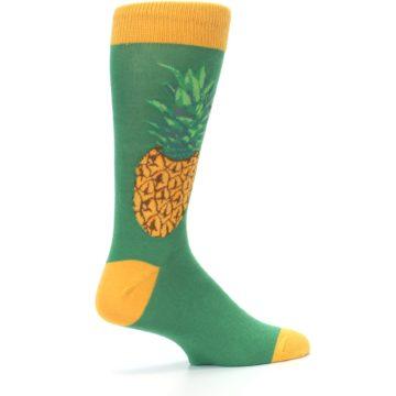 Image of Green Yellow Pineapple Men's Dress Socks (side-1-23)
