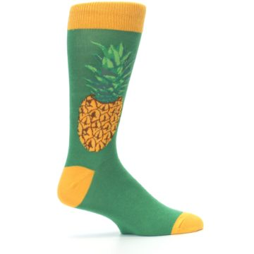 Image of Green Yellow Pineapple Men's Dress Socks (side-1-24)