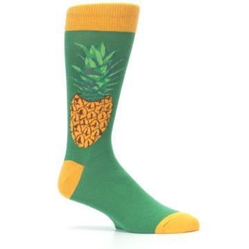 Image of Green Yellow Pineapple Men's Dress Socks (side-1-25)