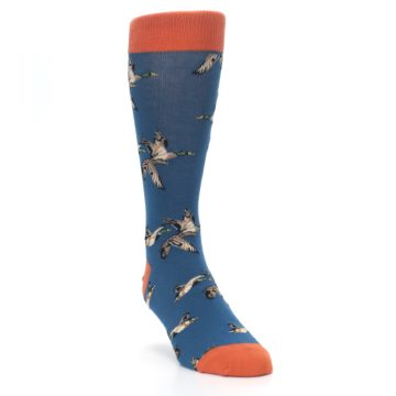 Image of Blue Mallard Ducks Flying Men's Dress Socks (side-1-front-02)