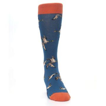 Image of Blue Mallard Ducks Flying Men's Dress Socks (side-1-front-03)