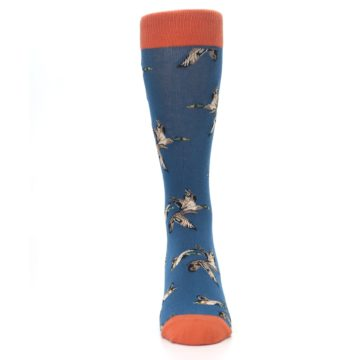 Image of Blue Mallard Ducks Flying Men's Dress Socks (front-04)