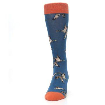 Image of Blue Mallard Ducks Flying Men's Dress Socks (front-05)
