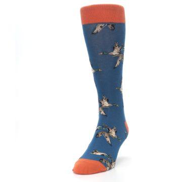 Image of Blue Mallard Ducks Flying Men's Dress Socks (side-2-front-06)