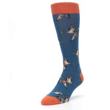 Image of Blue Mallard Ducks Flying Men's Dress Socks (side-2-front-07)