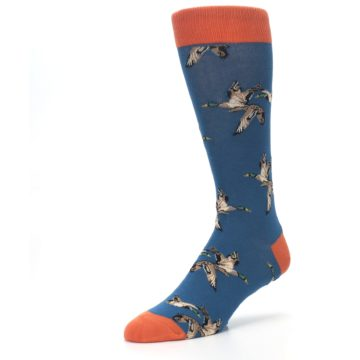 Image of Blue Mallard Ducks Flying Men's Dress Socks (side-2-front-08)