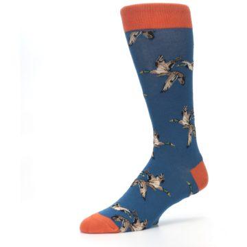 Image of Blue Mallard Ducks Flying Men's Dress Socks (side-2-09)
