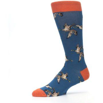 Image of Blue Mallard Ducks Flying Men's Dress Socks (side-2-10)