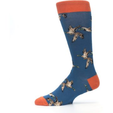 Image of Blue Mallard Ducks Flying Men's Dress Socks (side-2-11)