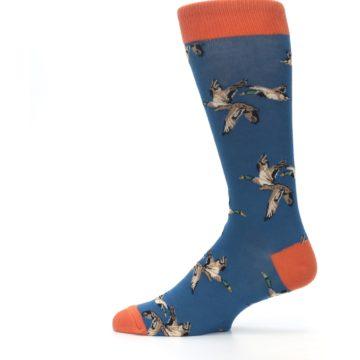 Image of Blue Mallard Ducks Flying Men's Dress Socks (side-2-12)