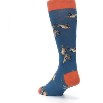 Image of Blue Mallard Ducks Flying Men's Dress Socks (side-2-back-15)