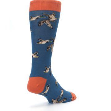 Image of Blue Mallard Ducks Flying Men's Dress Socks (side-1-back-21)