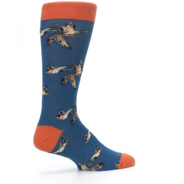 Image of Blue Mallard Ducks Flying Men's Dress Socks (side-1-23)
