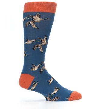 Image of Blue Mallard Ducks Flying Men's Dress Socks (side-1-24)