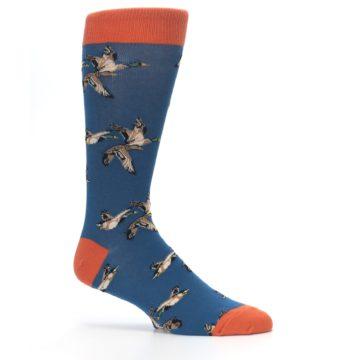 Image of Blue Mallard Ducks Flying Men's Dress Socks (side-1-25)