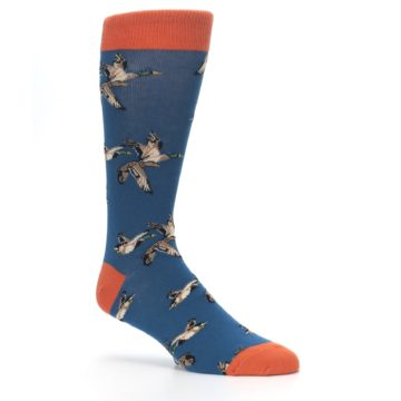 Image of Blue Mallard Ducks Flying Men's Dress Socks (side-1-26)