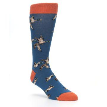 Image of Blue Mallard Ducks Flying Men's Dress Socks (side-1-27)