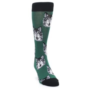 Image of Green Gray Wolf Men's Dress Socks (side-1-front-03)
