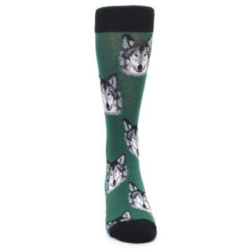 Image of Green Gray Wolf Men's Dress Socks (front-04)