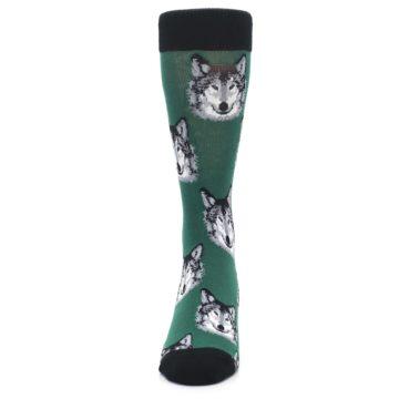 Image of Green Gray Wolf Men's Dress Socks (front-05)