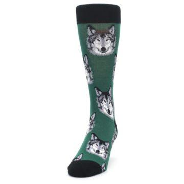 Image of Green Gray Wolf Men's Dress Socks (side-2-front-06)