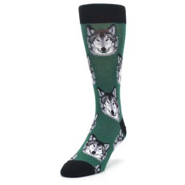 Image of Green Gray Wolf Men's Dress Socks (side-2-front-07)