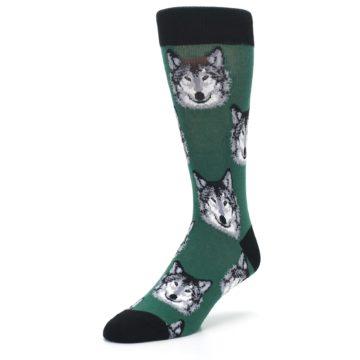 Image of Green Gray Wolf Men's Dress Socks (side-2-front-08)