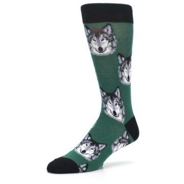 Image of Green Gray Wolf Men's Dress Socks (side-2-09)