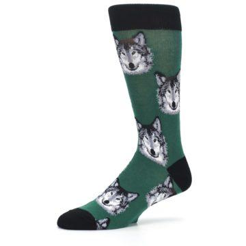 Image of Green Gray Wolf Men's Dress Socks (side-2-10)