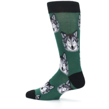 Image of Green Gray Wolf Men's Dress Socks (side-2-13)