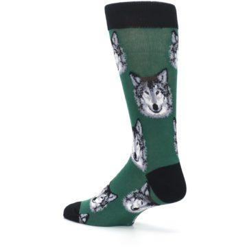 Image of Green Gray Wolf Men's Dress Socks (side-2-back-14)