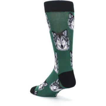 Image of Green Gray Wolf Men's Dress Socks (side-2-back-15)