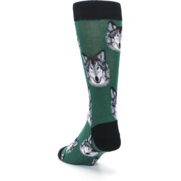 Image of Green Gray Wolf Men's Dress Socks (side-2-back-16)