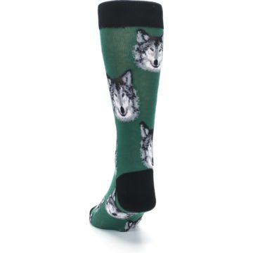 Image of Green Gray Wolf Men's Dress Socks (back-17)