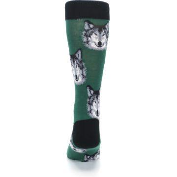 Image of Green Gray Wolf Men's Dress Socks (back-18)