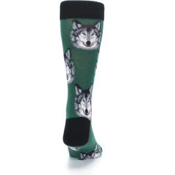Image of Green Gray Wolf Men's Dress Socks (back-19)