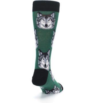 Image of Green Gray Wolf Men's Dress Socks (side-1-back-20)