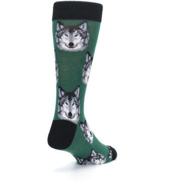 Image of Green Gray Wolf Men's Dress Socks (side-1-back-21)